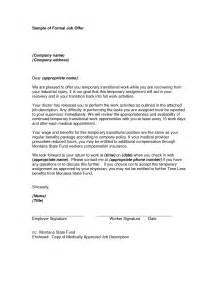 Formal Job Offer Letter Sample