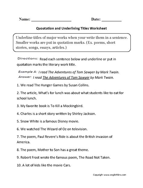 grammar mechanics worksheets italics and underlining worksheets