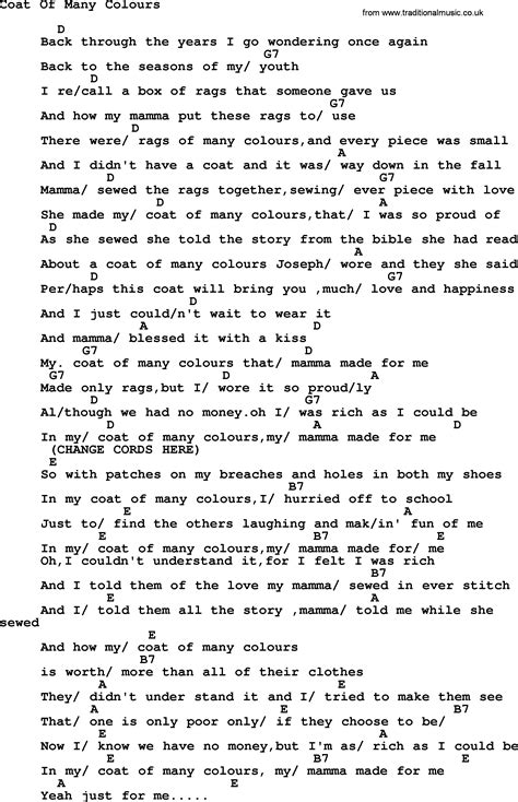coat of many colors lyrics dolly parton song coat of many colours lyrics and chords