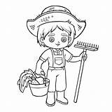 Farmer Coloring Boy Harvest Rake Drawing Bucket Illustration Vector Children Agriculture Barn sketch template