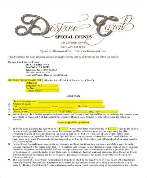 event contract template 14 event planner contract sles sle templates