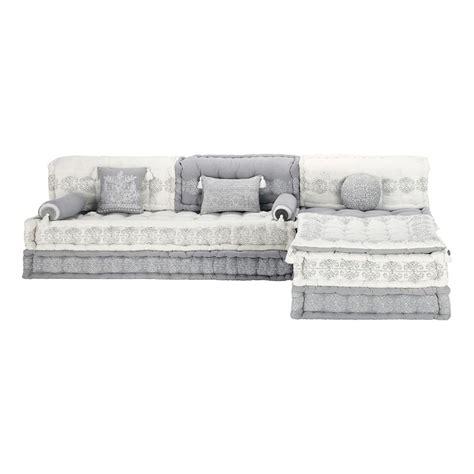 canapé au sol banquette d 39 angle modulable 6 places en coton grise et