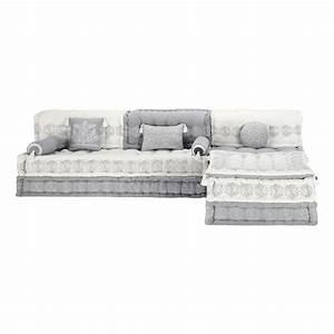 Banquette d'angle modulable 6 places en coton grise et blanche Goa Maisons du Monde