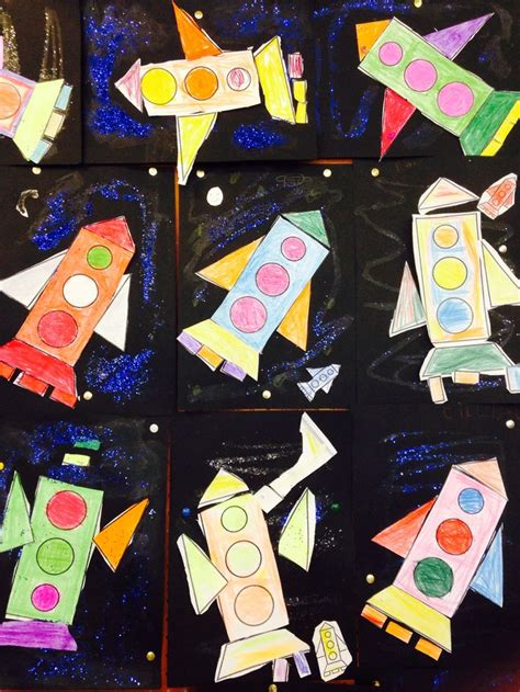 shape rockets kindergarten art shape art rockets