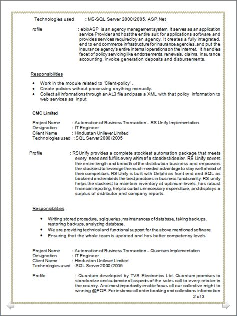 professional resume resume of mca 2 years of