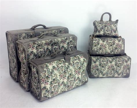 french luggage  floral tapestry  suede  piece luggage set   sale  stdibs