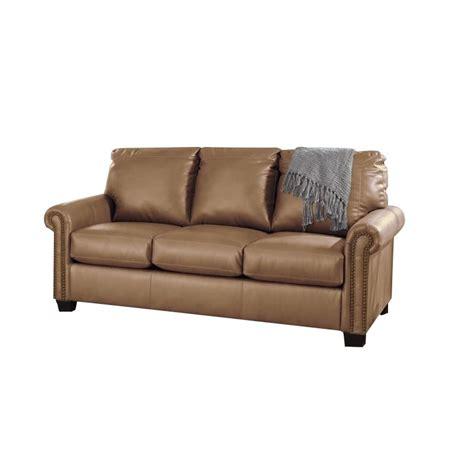 leather full sleeper sofa lottie leather sleeper sofa in almond 3800236