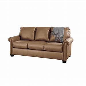 Ashley lottie leather full sleeper sofa in almond 3800236 for Ashley sleeper sofa