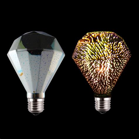 shape facet glass 3d fireworks led bulb yellow