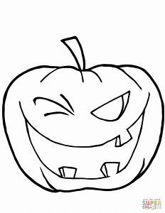 Halloween Pumpkin Winking Coloring Page Free Printable