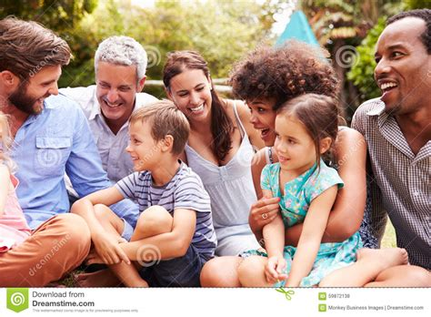 adults and kids the grass in a garden image of american group 59872138