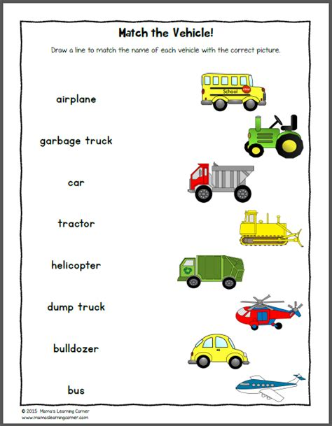 transportation worksheets mamas learning corner
