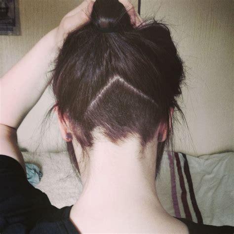 cute triangle undercut at nape hair pinterest