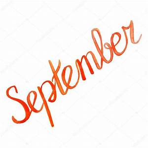 Watercolor september month orange red lettering ...