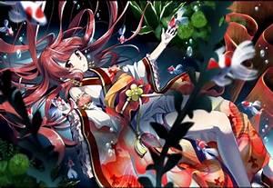 Original, Characters, Traditional, Clothing, Kimono, Swimming, Water, Fish, Anime, Girls, Anime