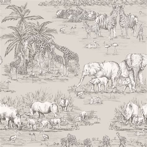 watering hole taupe animal safari metallic wallpaper