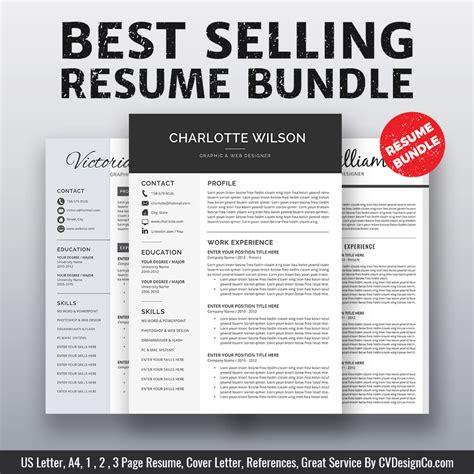 selling ms office word resume cv bundle