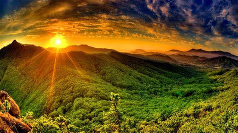Sunrise Sun Red Sky Cloud Tsoncheva Rays Mountain With