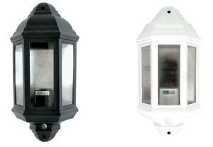 black or white outdoor half lantern pir 60w garden security wall light ip44 ebay