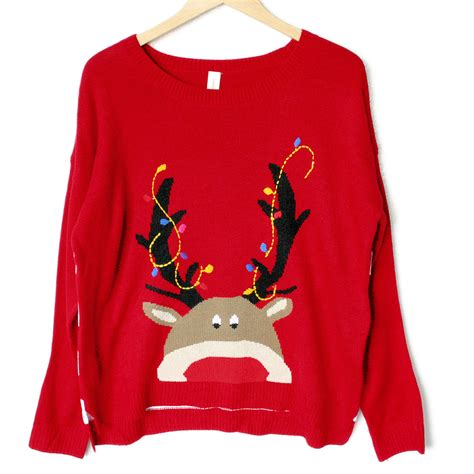 igly sweater lightweight hi lo peeping rudolph tacky