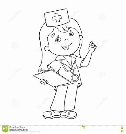 Doctor Coloring Cartoon Outline Pages Printable Profession