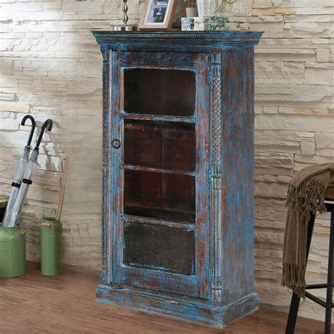wood and glass curio cabinet midnight distressed blue mango wood glass door curio