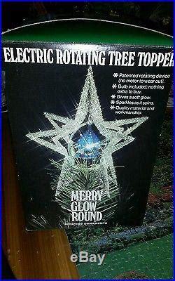 merry glow rotating christmas tree topper vintage merry glow sputnik rotating tree topper blue