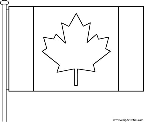 canadian flag  pole coloring page canada day