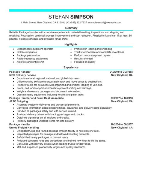 free sle resume for material handler best package handler resume exle livecareer
