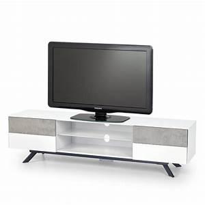 Meuble Tv Beton : meuble tv b ton et blanc laque 4 tiroirs 180cm astani ~ Teatrodelosmanantiales.com Idées de Décoration