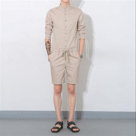 mens jumpsuit 2016 summer jumpsuit casual three quarter sleeve
