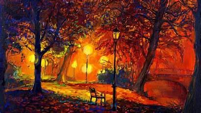 Impressionism Nature Painting Fall Trees Artwork Digital