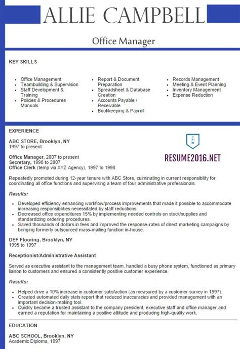 Best Sample Resume 2016  Sample Resumes