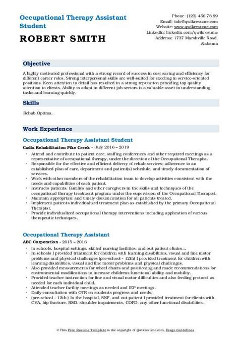 Occupational Therapy Resume by Occupational Therapy Assistant Resume Sles Qwikresume