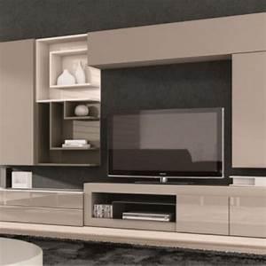 Meuble tv design taupe juana ideeen voor het huis for Deco cuisine pour meuble tv suspendu