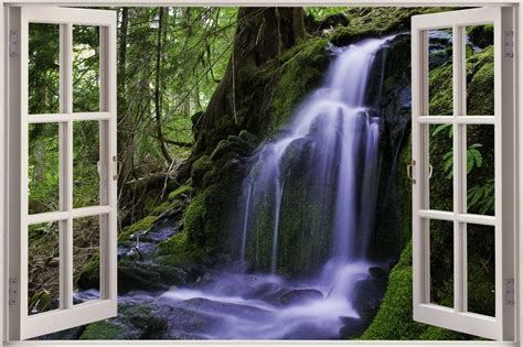 huge  window forest waterfall view wall stickers film