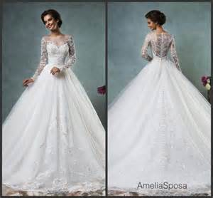 vestido de novia wedding dress white lace wedding dresses sleeve sheer 2016 amelia sposa chapel a line