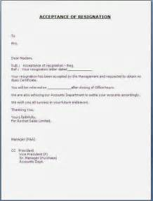 Acceptance Job Resignation Letter Sample