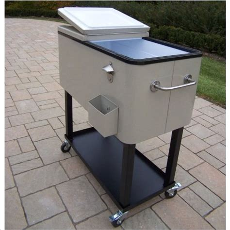 oakland living 90010 bs steel patio cooler with cart 80