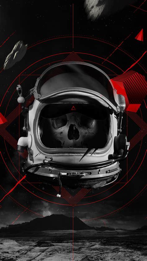 wallpaper dead astronaut skull space suit  creative
