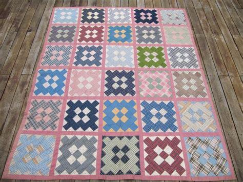 Antique Handmade Patchwork Quilt Spread 1920s 5x6 Pink