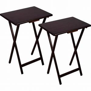 2 piece folding wood tv laptop tray table stand set for Movable coffee table