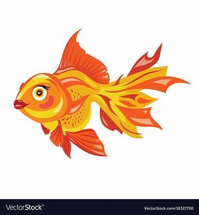 Goldfish Fish Aquarium Vector Cartoon Clipart Stylized