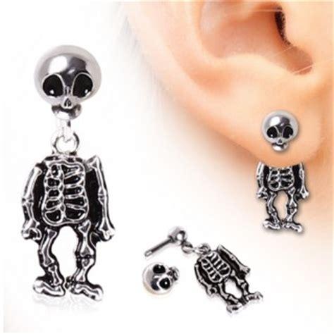 achat piercing lobe oreille en forme de squelette  tete