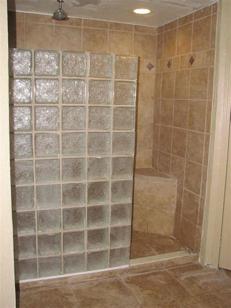 glass block shower stall   bathroom