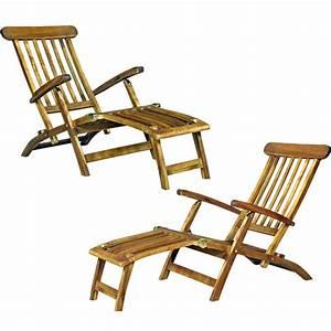 Chaise Teck Jardin : chaise longeu en teck transat de jardin ~ Teatrodelosmanantiales.com Idées de Décoration