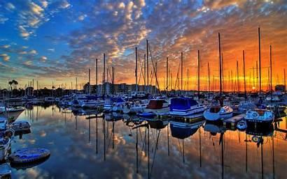 Dock Sunset Boat Wallpapers Nature Desktop Sundown
