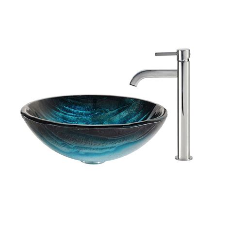 kraus irruption rectangular glass vessel sink in blue gvr