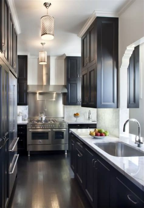 narrow kitchens pinterest