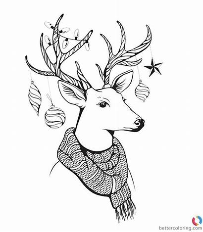 Coloring Hipster Pages Deer Scarf Printable Adults